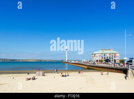 The town beach and Pavilion in Weymouth, Jurassic Coast, Dorset, England, UK - Stock Photo