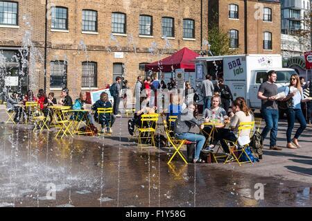 United Kingdom, London, King's Cross district, Granary Square - Stock Photo