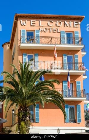 France, Alpes Maritimes, Villefranche sur Mer, Welcome hotel - Stock Photo