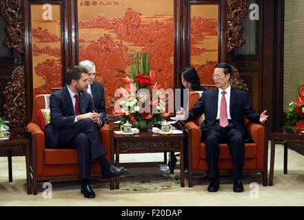 Beijing, China. 9th Sep, 2015. Chinese Vice Premier Zhang Gaoli (R) meets with Brian Deese, senior advisor to U.S. - Stock Photo