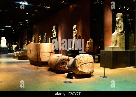 Italy, Piedmont, Turin, Egyptian Museum, hall monumental statues - Stock Photo