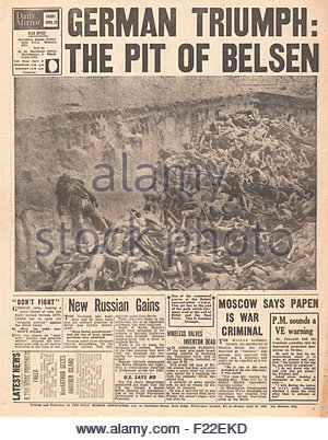 1945 Daily Mirror back page reporting liberation of Belsen Concentration Camp - Stock Photo