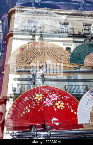 Spanish hand fans abanicos on display in window store for Plaza de la puerta del sol