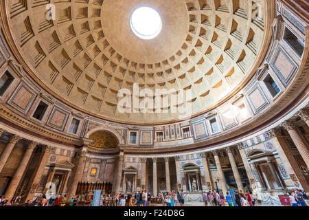 The Pantheon temple of Roman Gods and church interior space Piazza della Rotonda Roma Rome Lazio Italy EU Europe - Stock Photo