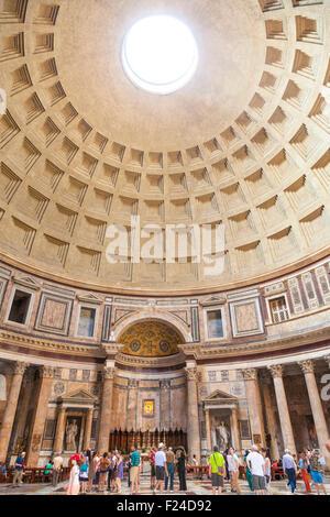 The Pantheon temple of Roman Gods and church inside space Piazza della Rotonda Roma Rome Lazio Italy EU Europe - Stock Photo