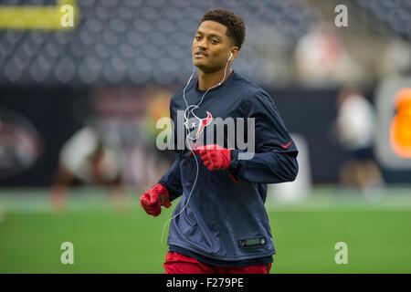 Houston, Texas, USA. 13th Sep, 2015. Houston Texans cornerback Kevin Johnson (30) warms up prior to an NFL game - Stock Photo