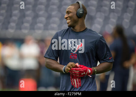 Houston, Texas, USA. 13th Sep, 2015. Houston Texans running back Alfred Blue (28) warms up prior to an NFL game - Stock Photo