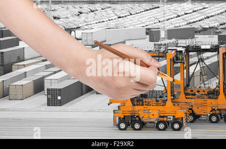 A Container Crane Lifting An Orange Freight Container From Stack To A Stock Vector Art