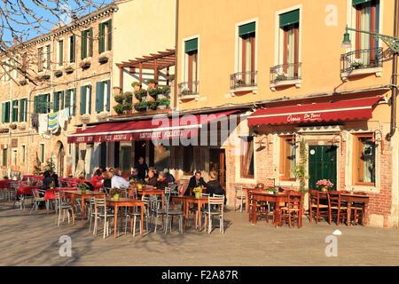 Restaurants Pier Dickens and Osteria Do Torri at campo Santa Margherita - Stock Photo