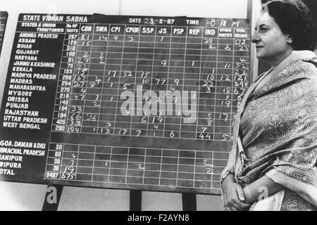 Indian Prime Minister Indira Gandhi beside a bulletin board showing early election returns. Feb. 28, 1967. With - Stock Photo