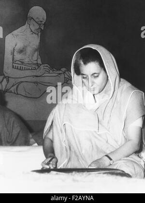 Indian Prime Minister Indira Gandhi during the annual session of the ruling Congress Party. Feb. 2, 1966. Seated - Stock Photo