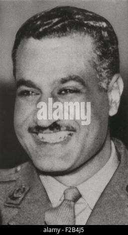 Gamal Abdel Nasser, President of Egypt in 1956. Nasser advocated Pan-Arab unity and formed the United Arab Republic - Stock Photo