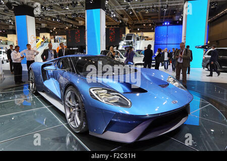 Frankfurt/M, 16.09.2015 - FORD GT concept car at the Ford stand at the 66th International Motor Show IAA 2015 (Internationale - Stock Photo