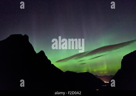 Aurora Borealis seen from Trollstigen in Møre og Romsdal, Norway. - Stock Photo