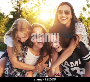 Group of friends laughing and having fun - Stockfoto