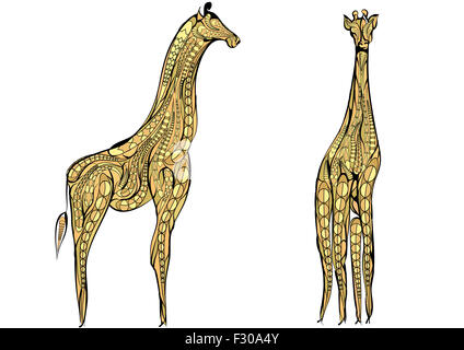 two giraffes. - Stock Photo