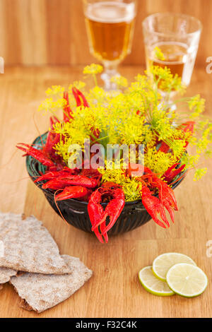 Swedish holiday crayfish meal. - Stockfoto