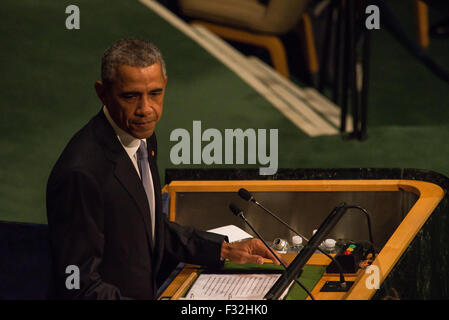 New York, United States. 28th Sep, 2015. President Barack Obama speaks to the 13th Plenary Session of the United - Stock Photo