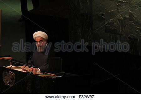 New York, United States. September 28th, 2015. UNITED STATES, New York: Iranian President Hassan Rouhani addresses - Stock Photo