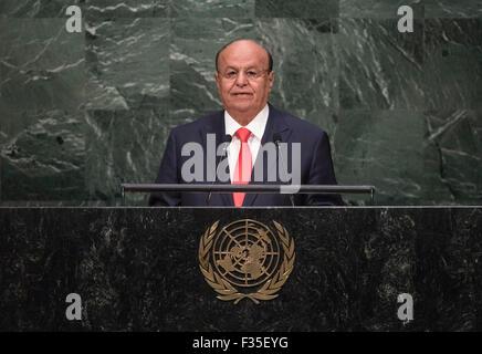New York, NY, USA 29th Sep, 2015. Yemeni President Abd-Rabbu Mansour Hadi addresses the 70th session of the United - Stock Photo