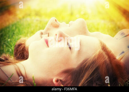 Young couple in the warm sun - Stock Photo