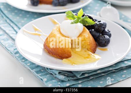 White Chocolate Lava Cake With Blackberries