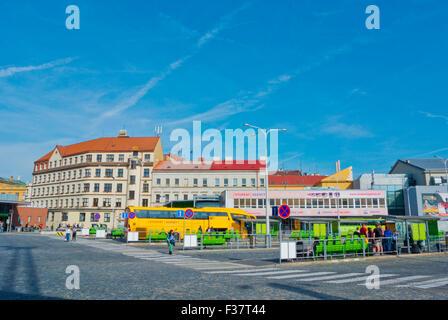 Autobuseve nadrazi, Main long distance bus station, Florenc, Prague, Czech Republic - Stock Photo