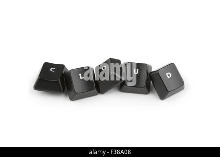 Word cloud formed with computer keyboard keys on white background with shadow - Stock Photo