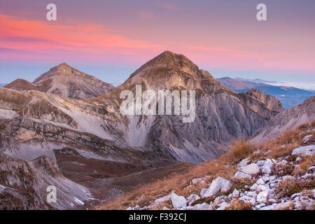 Gran Sasso and Monti della Laga National Park at sunrise, Campo Imperatore, Abruzzo, Italy - Stock Photo