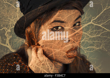 Multiple exposure portrait for imagination nature themed image - Stockfoto