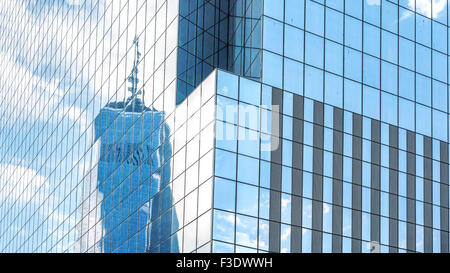 Reflection in modern office building windows, abstract background, NYC, USA. - Stock Photo