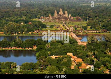 Angkor Wat temple, aerial view, Angkor Wat, Siem Reap ...