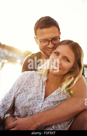 Close up, Man and Woman In Love By the Water - Stock Photo
