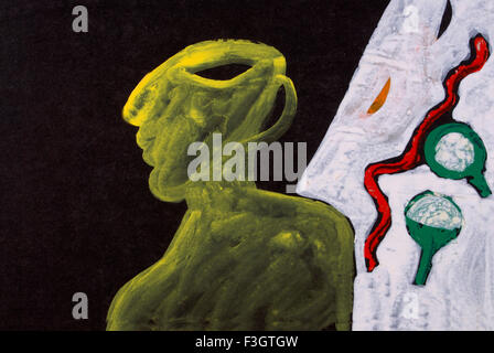 Abstract painting acrylic color on black mount board - Stock Photo