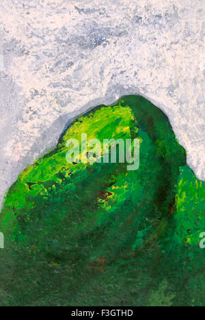 Green mountain acrylic colors on handmade paper - Stock Photo