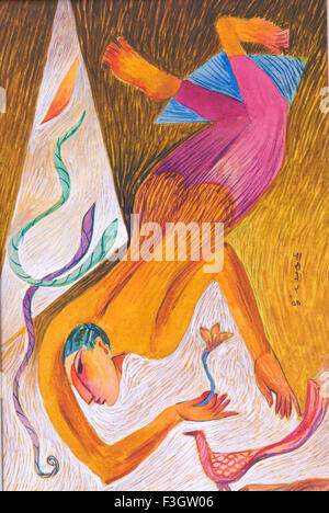 Gliding man with flower in his hand watercolor on mountboard - Stock Photo