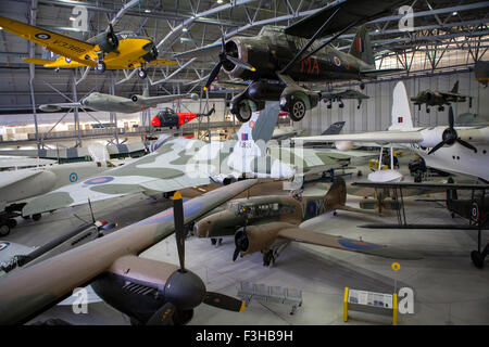 CAMBRIDGESHIRE, UK - OCTOBER 5TH 2015: Some of the aircraft on display at the Imperial War Museum Duxford in Cambridgeshire, - Stock Photo