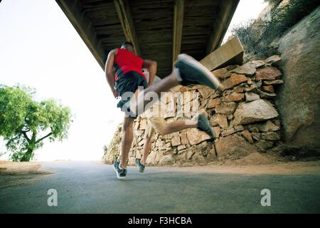 Two male friends, running under bridge, rear view, low angle view - Stock Photo