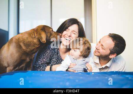 Mid adult couple laughing with toddler daughter and pet dog - Stock Photo