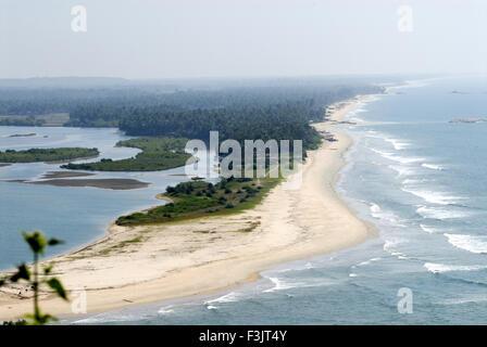 Seascape aerial view Arabian sea green coast beach sunset point Ottinene Kshitija Nature Resort Kundapura Udupi - Stock Photo