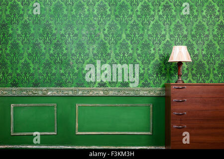 Retro room with pattern in rococo style. Rich interior. Old home. Style and elegance - Stock Photo