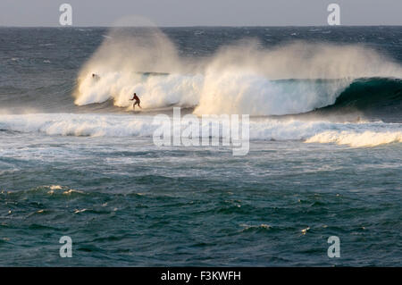 Wawes and surfers in Ho'okipa Beach. Maui. Hawaii. Ho'okipa Beach Park is one of the top spots for ocean sports - Stock Photo