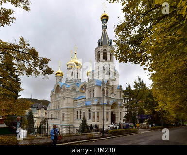 Karlovy Vary, Czech Republic. 9th Oct, 2015. Eastern Orthodox Church of St. Peter and Paul in Karlovy Vary, Czech - Stock Photo