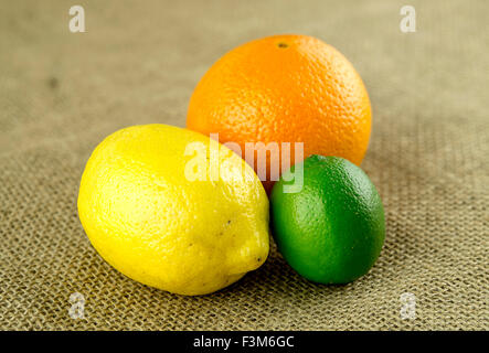 Colorful bunch of citrus fruits on burlap - Stock Photo