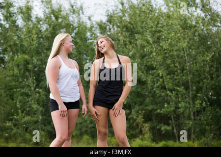 Canada,Laughing,Girlfriends,Leisure,Park - Stockfoto