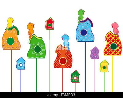Amusing and funny birds sitting and singing in their homes, a set of colored vector illustration on a white background - Stock Photo