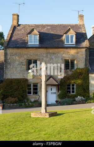 Old fashioned street lamp in Stanton village, cotswolds, Gloucestershire, England - Stock Photo