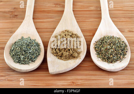 Dried spices of Cilantro, Cumin and Oregano used in Mexican cooking on Wooden Spoons. - Stock Photo