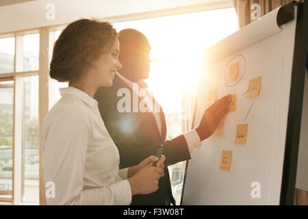 Two business colleagues working on project together. Business people putting their ideas on whiteboard during a - Stockfoto