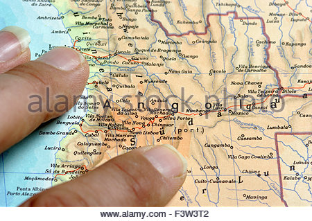 Map Of Southern-Africa, Africa, Angola - Stock Photo